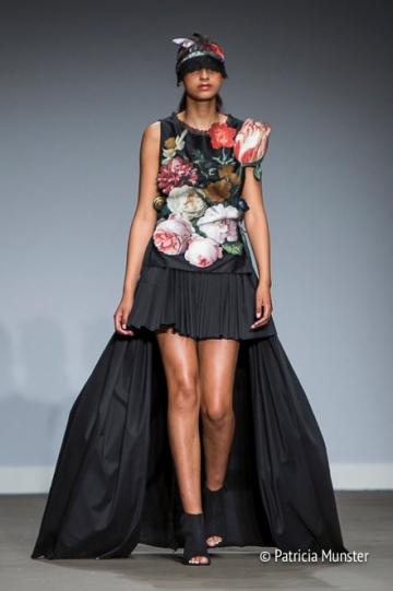 Jan Davidsz. van Heem flowers at dress by Maaike van den Abbeele at Fashion Week Amsterdam