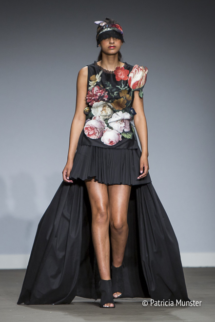 Jan Davidsz. van Heem flowers at dress by Maaike van den Abbeele at Fashion Week Amsterdam