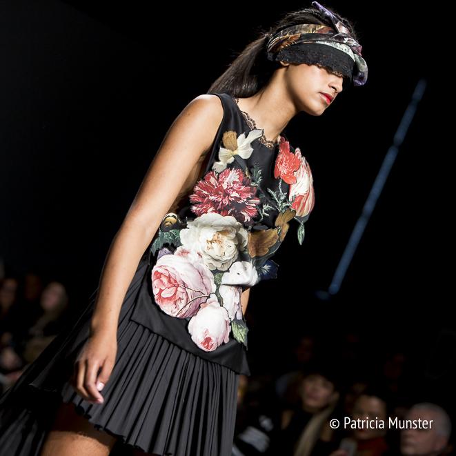 Jan Davidsz. van Heem still-life of flowers at dress by Maaike van den Abbeele at Fashion Week Amsterdam