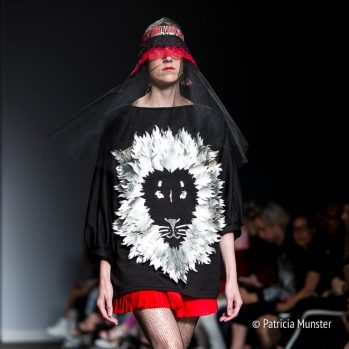 Silver lion at Maaike van den Abbeele at Fashionweek Amsterdam