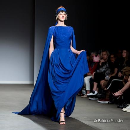 Royal blue gown at Maaike van den Abbeele at Amsterdam Fashion Week
