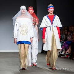 Red-White-Blue and gold at Maaike van den Abbeele at Amsterdam Fashion Week