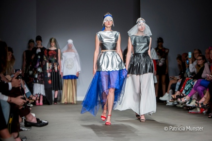 Silver 'armour' with royal blue skirt by Maaike van den Abbeele at Fashionweek Amsterdam