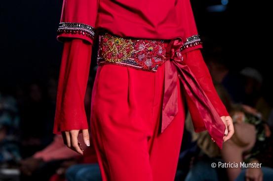 Embroidered belt of Merel van Glabbeek at Amsterdam Fashion Week