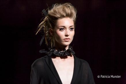 Make up: MAC - Hair: Goldwell - Close up of Tony Cohen SS18 Black and white at Amsterdam Fashion Week