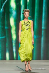 Kim Feenstra in lime dress for Tony Cohen SS18 - Amsterdam Fashion Week