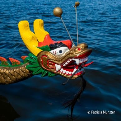 Drakenkop van een drakenboot